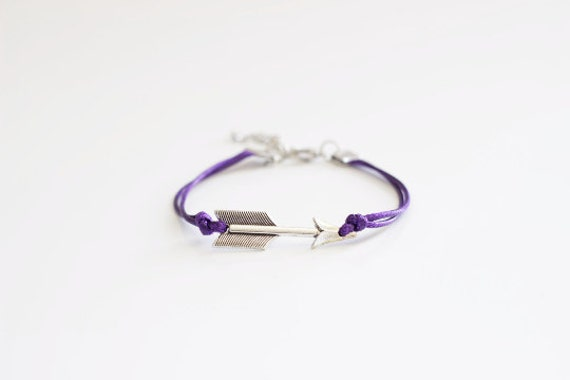 Arrow Purple Cord Bracelet