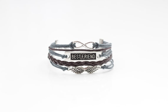 Infinity Best Friend Wings Gray Brown Cord Bracelet