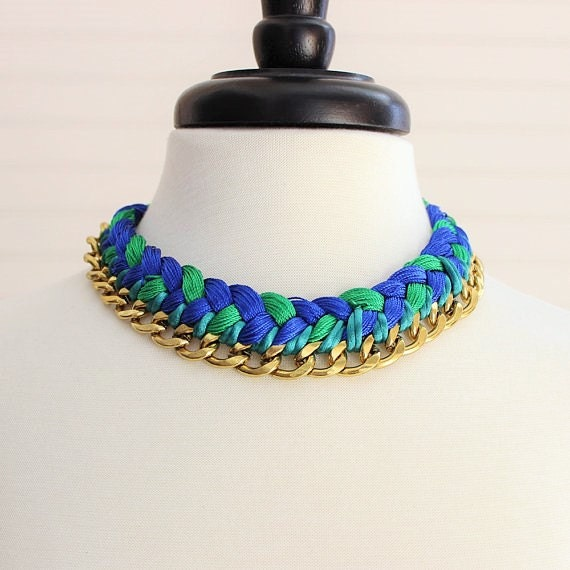 Green & Blue Braided Necklace