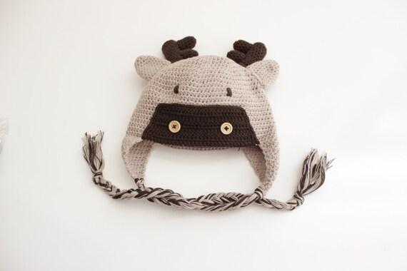 Elk Crochet Baby Beanie/ Crochet Hat/ Baby Beanie