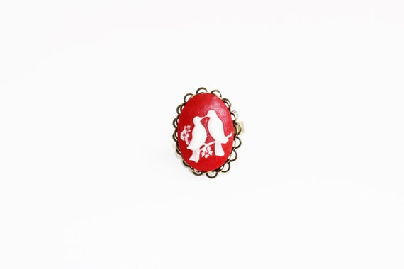 Love Birds Red Cameo Ring