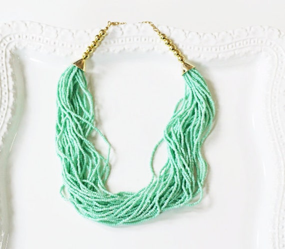 Mint Green-Light Turquoise-Beaded Necklace
