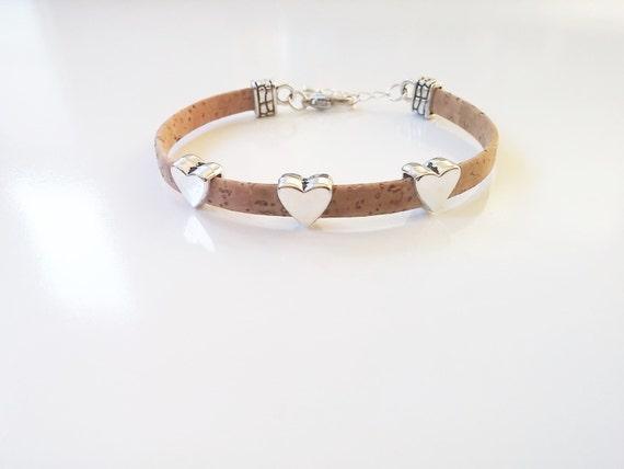 Cork Hearts Bracelet