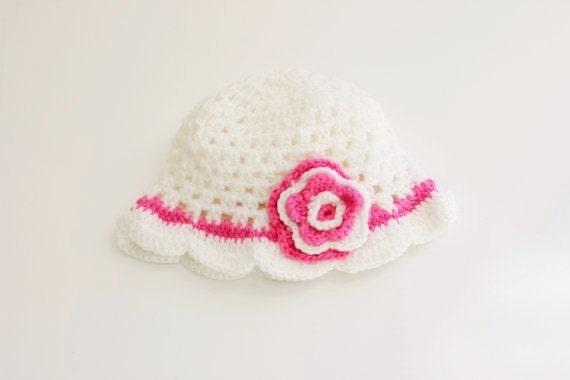 White Pink Crochet Baby Beanie/ Crochet Hat/ Baby Beanie
