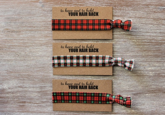 Red Black Dark Green Square Plaid-White Green Red Square Plaid-Red Green Square Plaid-Hair Ties