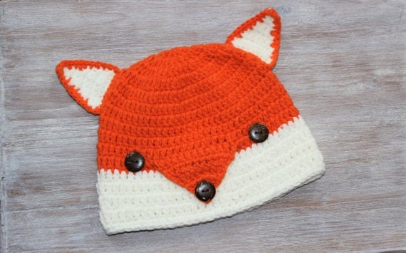 Fox Orange White Crochet Baby Beanie 6-12 Months
