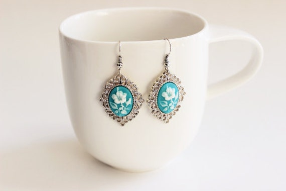 Flower Cameo Turquoise Earrings