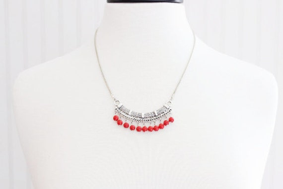 Red Tibetan Beaded Necklace