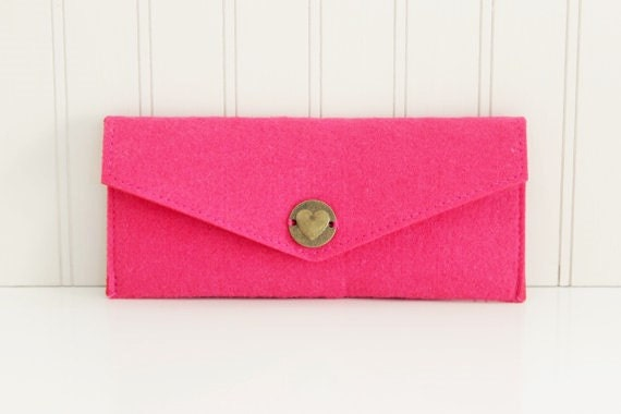 Pink Wool Felt Pouch