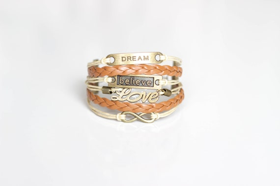 Dream Believe Love Infinity Brown Beige Cord Bracelet
