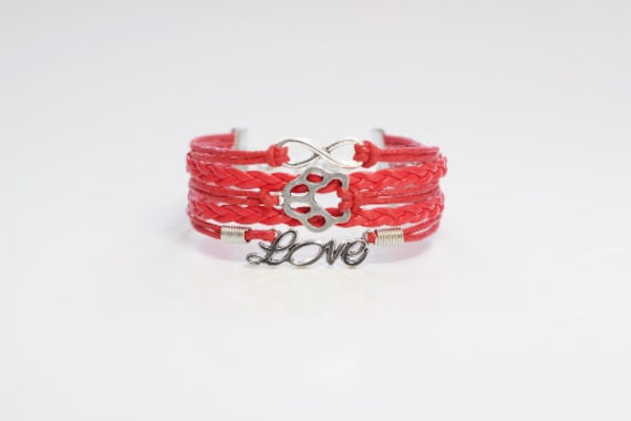 Infinity Pet Paw Love Red Cord Bracelet