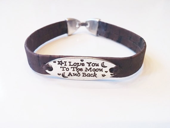 """Cork """"I Love you to the moon and back"""" Brown Bracelet"""