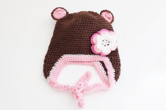 Bear Brown Pink Crochet Baby Beanie/ Crochet Hat/ Baby Beanie