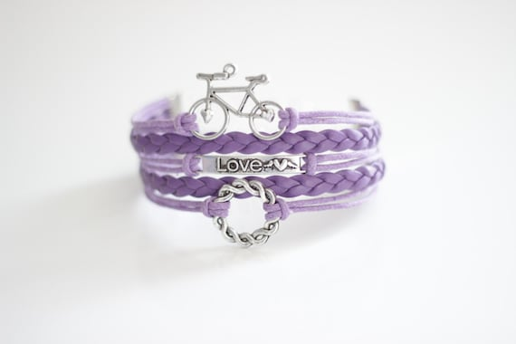 Bicycle Love Hearts Ring Lilac Cord Bracelet.