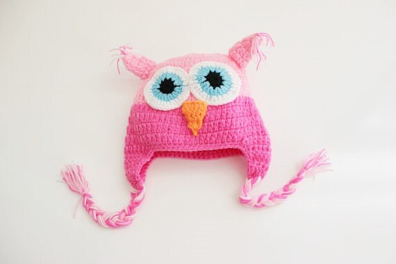 Owl Pink Crochet Baby Beanie/ Crochet Hat/ Baby Beanie
