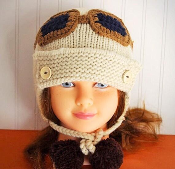 Pilot Cream Knitted Beanie/ Knitted Hat/ Baby Beanie