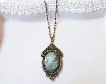Victorian Lady Green Cameo Necklace