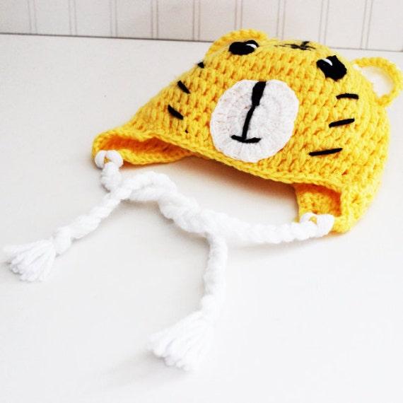 Yellow Tiger Crochet Beanie/ Crochet Hat/ Baby Beanie