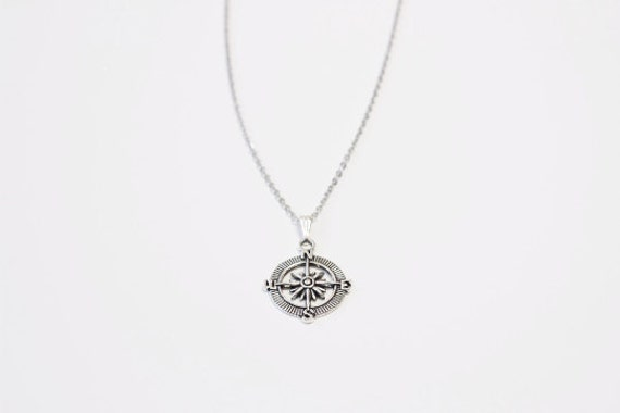 Compass Silver Tone Necklace