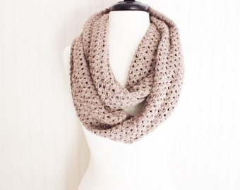 Taupe Crochet Infinity Scarf/ Cozy Scarf