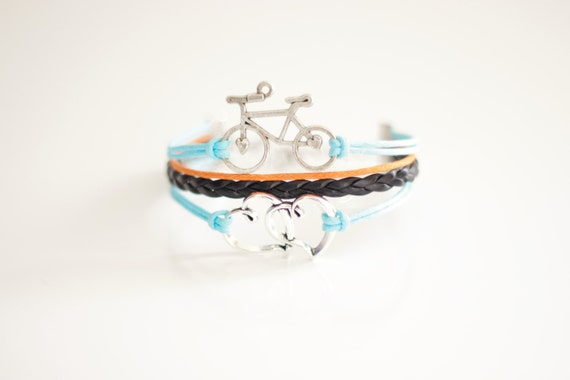 Bicycle Hearts Light Turquoise Black Orange Cord Bracelet