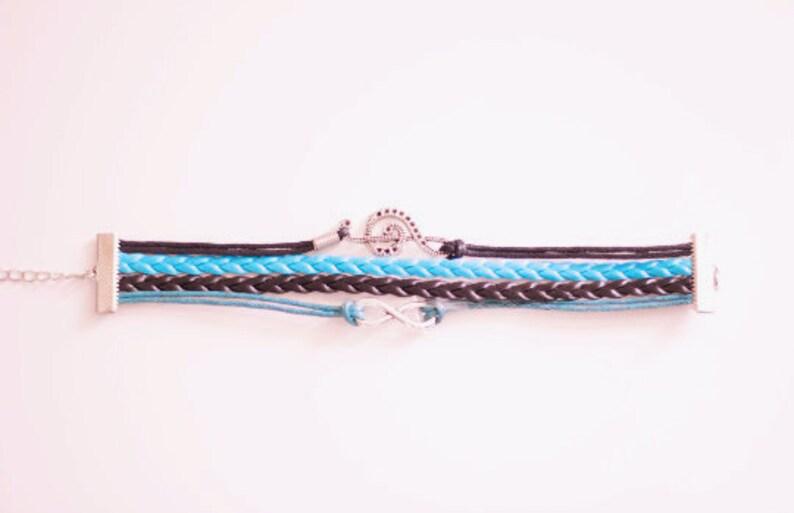 Treble Clef Infinity Teal Black Cord Bracelet