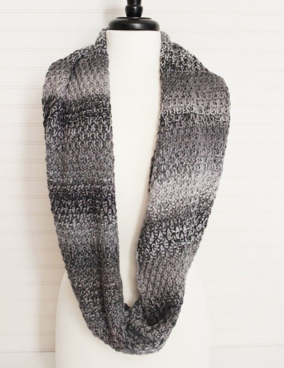 Gray Multi Knitted Infinity Scarf/ Knitted Scarf