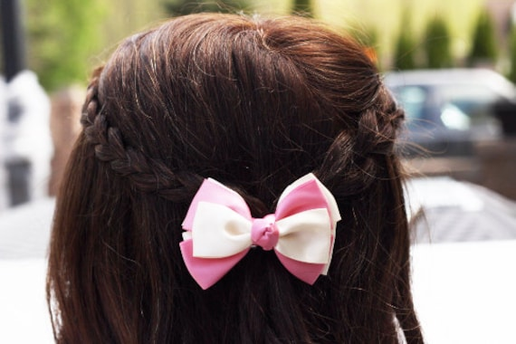 Pink Cream Small Bow Hair Clip