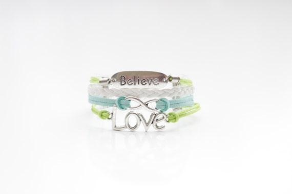 Believe Infinity Love Lime Green White Light Blue Cord Bracelet