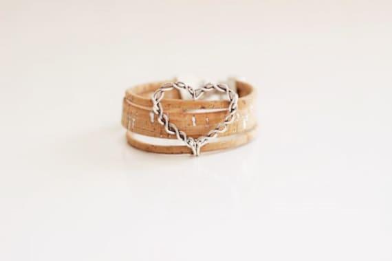 Cork Heart Bracelet