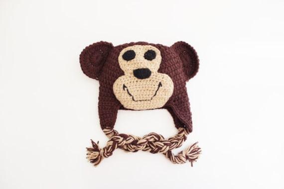Monkey Crochet Baby Beanie/ Crochet Hat/ Baby Beanie