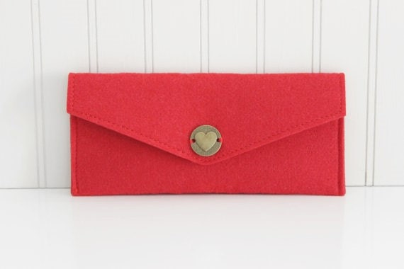 Red Wool Felt Pouch