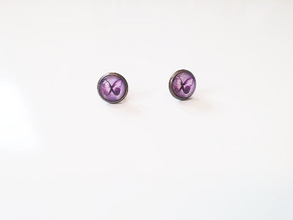 Purple Lilac Butterfly Stud Earrings