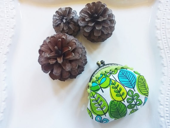 Leaves Green Blue Small Coin Purse