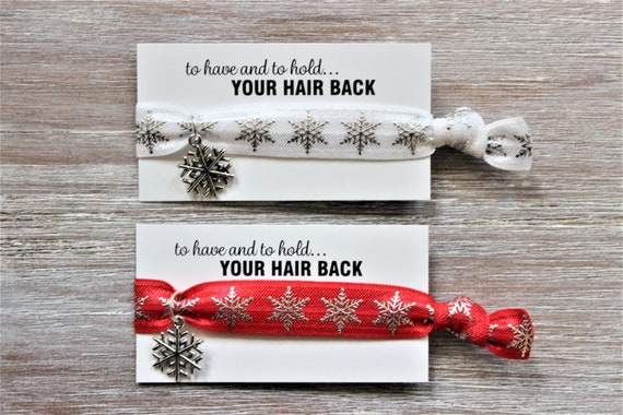 Snowflakes Silver-White-Red-Hair Ties