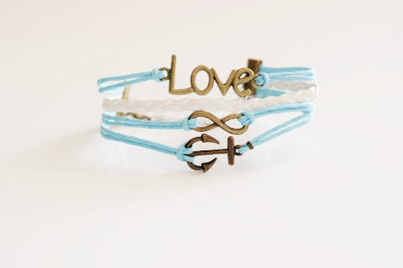 Love Infinity Anchor Light Blue White Cord Bracelet