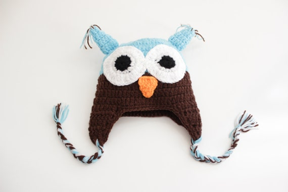 Owl  Blue Brown Crochet Baby Beanie/ Crochet Hat/ Baby Beanie