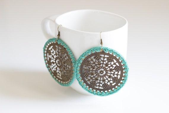 Sea Green Crochet Medallion Earrings