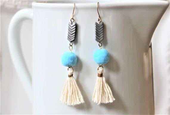 Hematite Dark Gray Stone Blue Pom Pom Cream Tassel Earrings