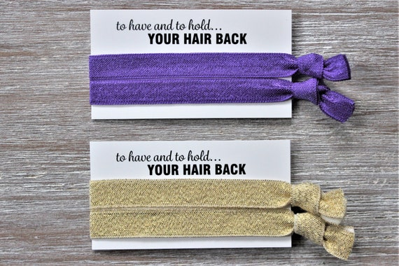 Purple Set of Two Thin Hair Ties-Light Gold Shimmer Set of Two Thin Hair Ties