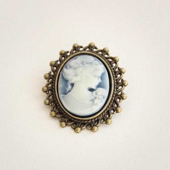 Victorian Lady Cameo Dark Blue Brooch-Antique Bronze-Silver Tone