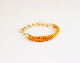 Orange Silk Cord Chain Bracelet