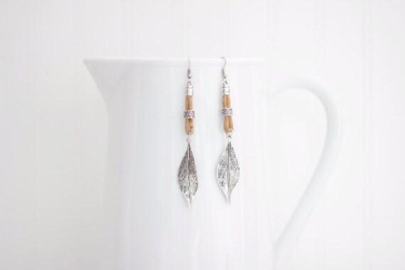 Cork Leaf Long Earrings