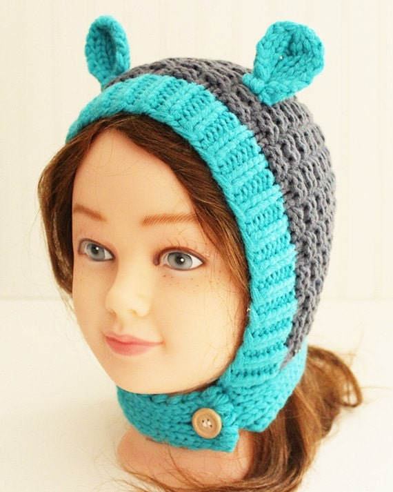 Bear Gray Turquoise Knitted Beanie with Ears/ Knitted Hat/ Baby Beanie