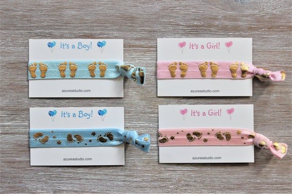 Baby Feet-Baby Footprint-Stars-Blue-Pink-It's a Boy!-It's a Girl!-Hair Ties