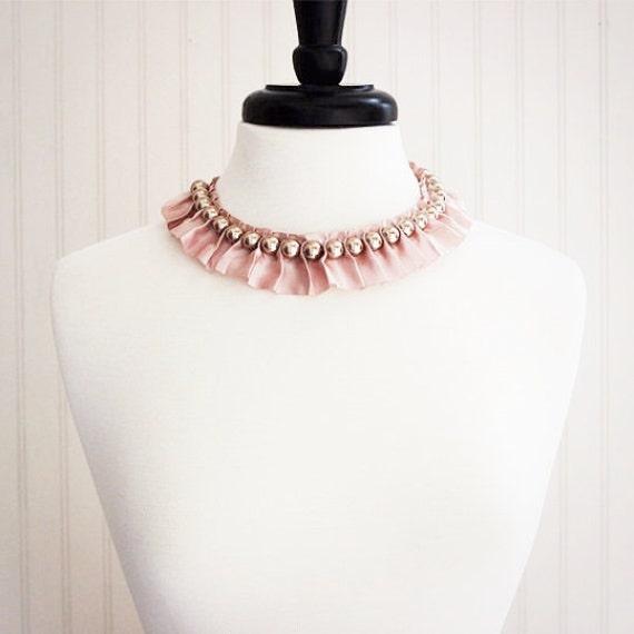 Blush Pink Ruffle Necklace