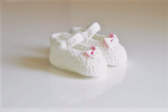 White Baby Crochet Shoes