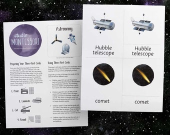 3-part cards: Astronomy (printable PDF)