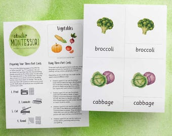 3-part cards: Vegetables (printable PDF)