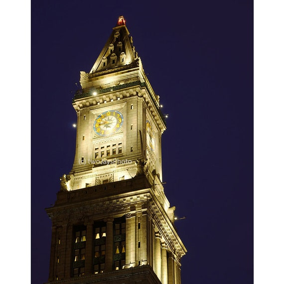 Custom House Clock Tower Boston Massachusetts Boston Art Etsy